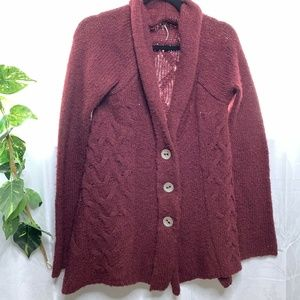 Free People Cowl Neck Cable Knit Button Up Sweater